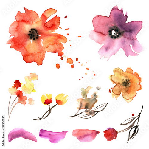 Watercolor hand painted flower elements for invitation, wedding card, birthday card.  - 139220590