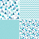 Set of seamless geometric masculine patterns in aqua blue and purple with grunge textured overlay. Includes triangles, zigzags and polka dots, for gift wrapping paper, wallpapers and surface textures.