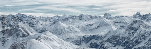 Large panoramic view from the Nebelhorn mountain, Bavarian Alps, Oberstdorf, Germany