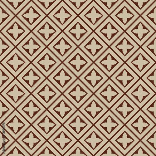 seamless illustration - beige, brown tile pattern