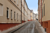 Old narrow street of Grodno in perspective. Belarus.