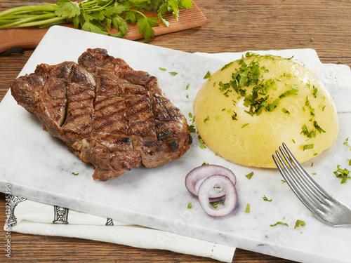 Poster Steak with polenta