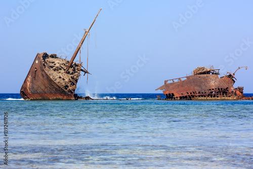 Aluminium Schipbreuk Maria Schröder shipwreck. Nabq, Egypt