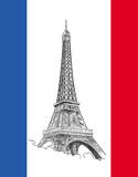 Fototapeta Eiffel Tower - Flaga z wieżą Eiffla © wdesignart