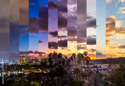Los Angeles Slices of Time Timelapse Sunset Day To Night