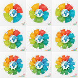 Set of circle chart infographic designs with globe - 139270995