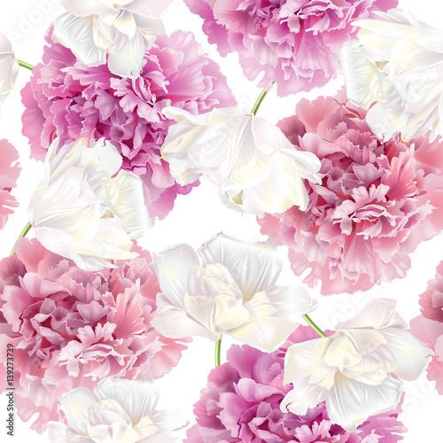 Fototapeta Peony tulip pattern