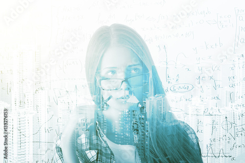 Girl with mathematical formulas