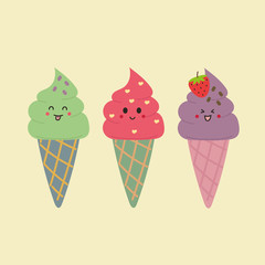 Cute three ice cream cone