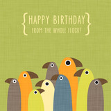 Fototapety Birthday greeting card with funny standing birds on green background