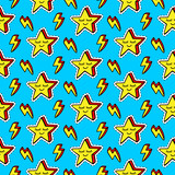 Funny cartoon stars patches seamless pattern