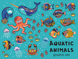 Aquatic animals vector collection
