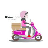 delivery girls with motorcycle logo vector