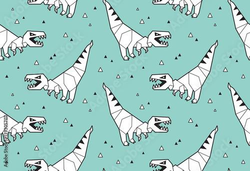 Materiał do szycia Origami pattern background with dinosaurs