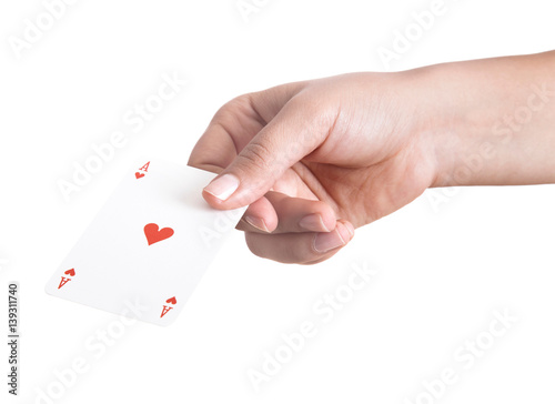 Poster playing cards in hand isolated on white background