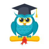 Wisdom concept, owl with diploma and graduation cap