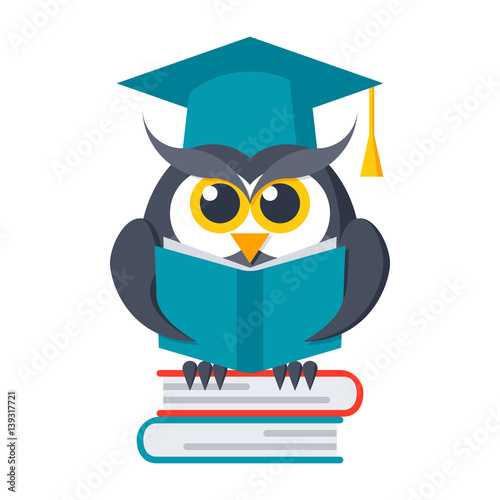 Foto op Aluminium Uilen cartoon Wisdom concept, owl with books in graduation cap