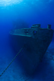 The bow of the USS Kittiwake shipwreck which sits in the warm shallow waters of Grand Cayman. The old submarine support vessel is now an underwater attraction for divers and snorkelers