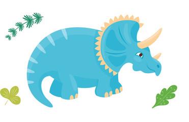 Cartoon dinosaur triceratops vector illustration isolated monster animal dino prehistoric character reptile predator jurassic leaf dragon