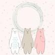 Cute hand drawn frame with cartoon bears