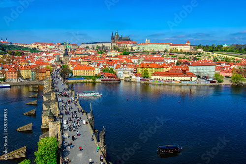 Poster Charles Bridge (Karluv Most), Prague Castle and Vltava river in Prague, Czech Re