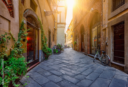 Deurstickers Toscane Narrow old cozy street in Lucca, Italy