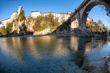 Cividale city and devil's bridge from the river