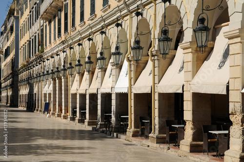 Center of Corfu town, Greece. Liston, Spianada Square