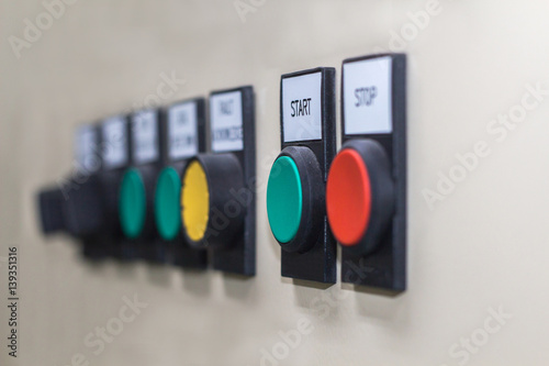 Poster Technical display on control panel with electrical equipment devices cabinet,lig