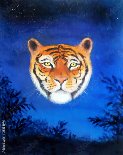 head of young tiger on nocturnal sky, oil painting and graphic structure effect.