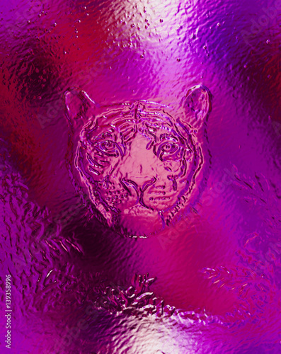 head of a young tiger on abstract background with graphic structure and glass effect.