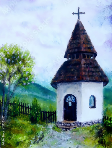 tiny historic belfry in rural landscape, original painting, oil on canvas.