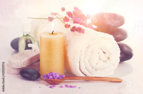 Fototapeta Spa still life with lavender saltl isolated on white background.