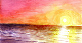 Fototapety Sunset at the ocean in watercolor.