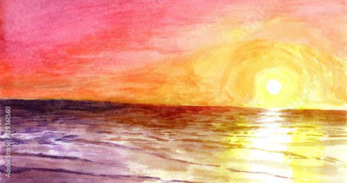 fototapeta na ścianę Sunset at the ocean in watercolor.