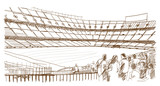 Fototapety Sketch of Football stadium with people in vector illustration.