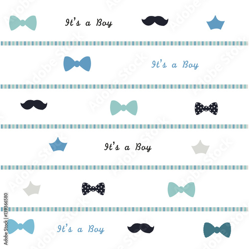 Baby shower background. Baby boy symbol  background - 139366580