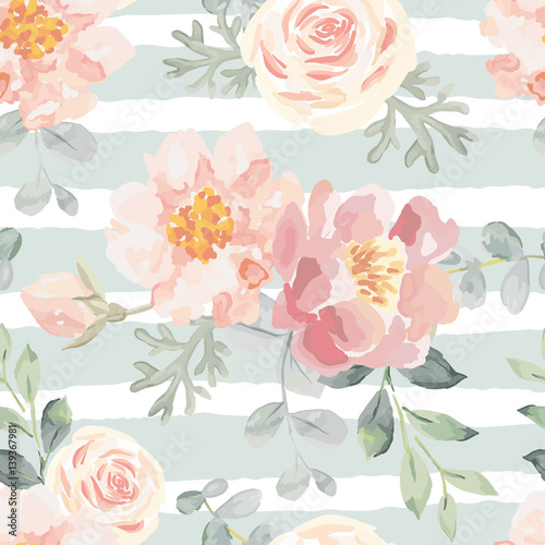 Tapeta Pale pink roses and peonies with gray leaves on the striped background. Vector seamless pattern. Romantic garden flowers illustration. Faded colors.
