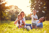Family with children blow soap bubbles outdoor - 139368968