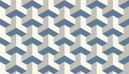 Seamless light blue op art trilateral hexagonal pattern vector