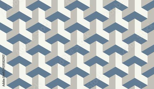 Seamless light blue op art trilateral hexagonal pattern vector - 139382907