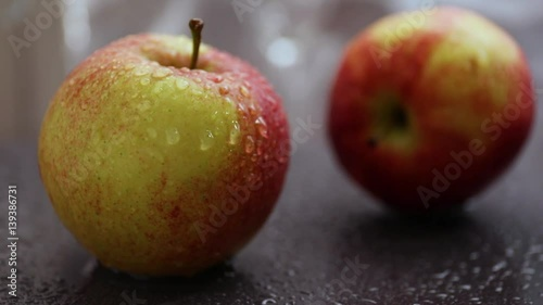 Fresh organic apples with water drops