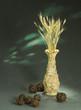 Постер, плакат: глиняный кувшин ручной лепки с колосьями и шариками из веток