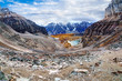 Panorama of Larch Valley at Sentinel Pass near Lake Louise in the Canadian Rockies