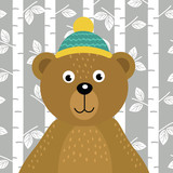 bear on background of birch trees - vector illustration, eps