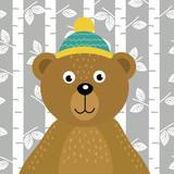 bear on background of birch trees  - vector illustration, eps