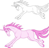 magical pink unicorn, coloring and color image - 139415193