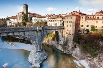 View of Cividale del Friuli and devil's bridge
