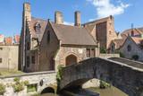 Famous medieval St Bonifacius Bridge in historic center of Bruges.(Belgium). Horizontally.