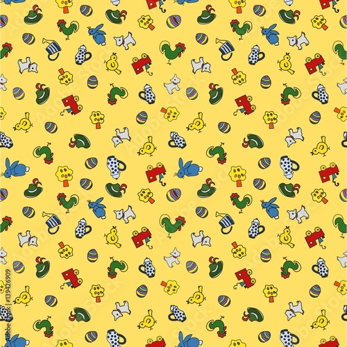 Muster kindliche Motive Kücken Kaffekanne Hund Häschen Eisenbahn Hut Hahn Ornament endlos Papierdruck Stoffdruck Tapete Wand Homepage Hintergrund Ostern